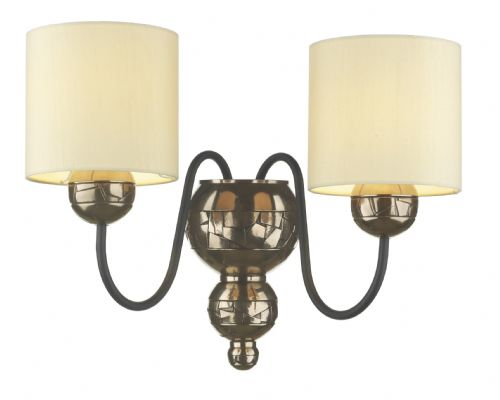 Garbo Bronze 2-light Made in the Cotswolds Wall Light with Cream shades GAR0915